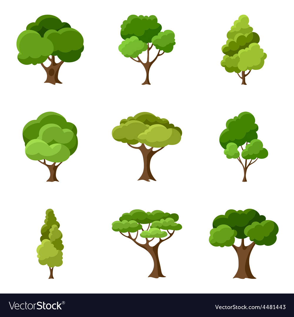 Set of abstract stylized trees vector | Price: 1 Credit (USD $1)