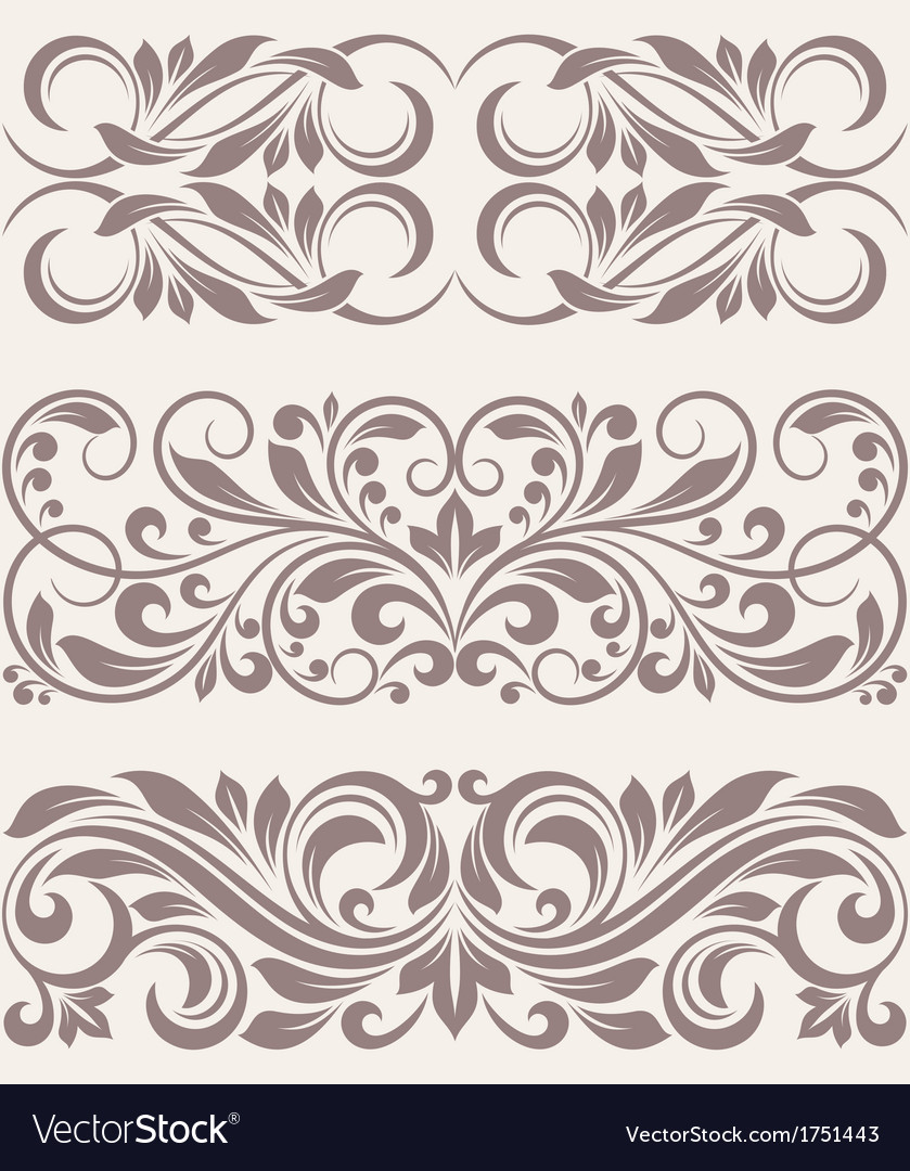 Set vintage ornate border frame filigree vector | Price: 1 Credit (USD $1)