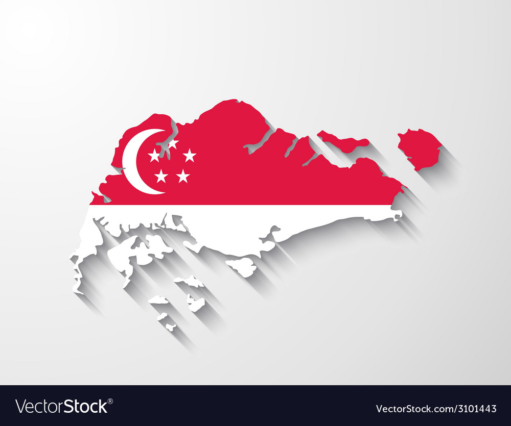 Singapore map with shadow effect vector | Price: 1 Credit (USD $1)