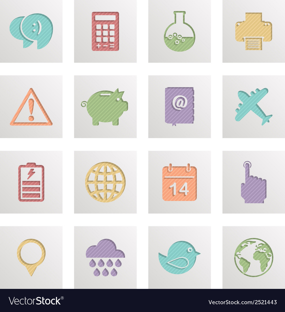 Square media icons vector | Price: 1 Credit (USD $1)