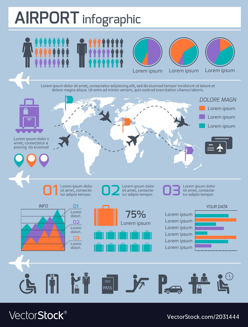 Airport business infographic set vector | Price: 1 Credit (USD $1)
