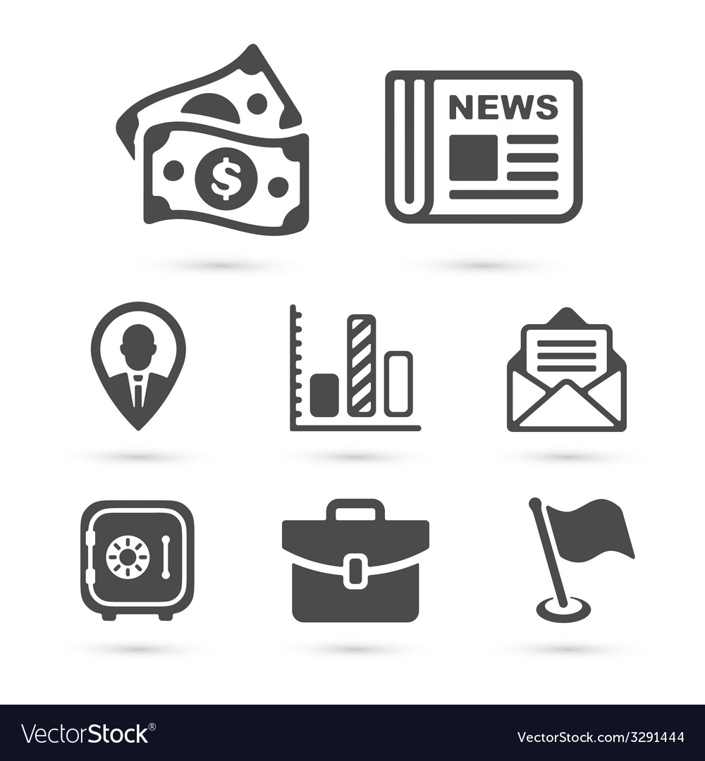Business finance icons isolated on white vector | Price: 1 Credit (USD $1)
