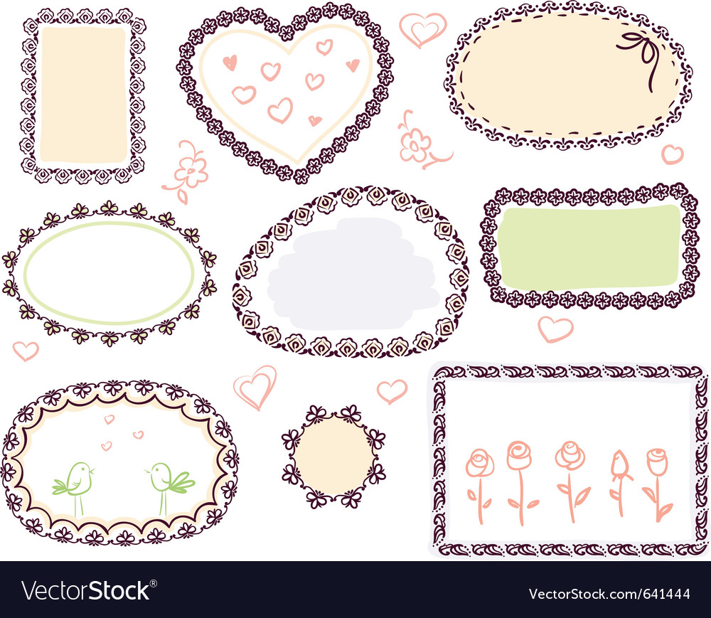 Doodle floral frame set vector | Price: 1 Credit (USD $1)