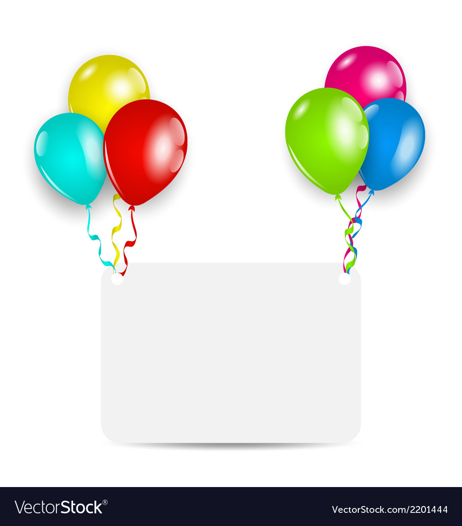 Greeting card with colorful balloons vector | Price: 1 Credit (USD $1)