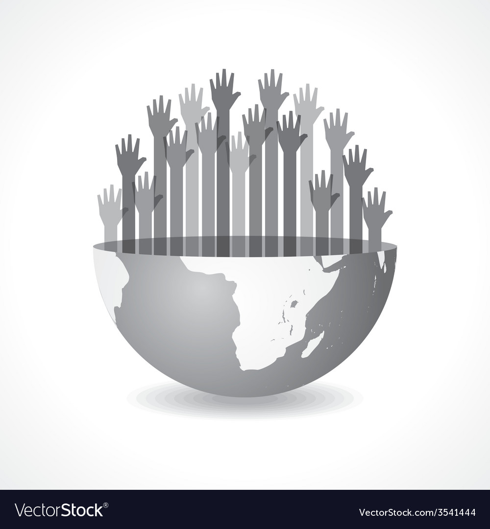 Grey raised hand on the half earth symbol vector | Price: 1 Credit (USD $1)