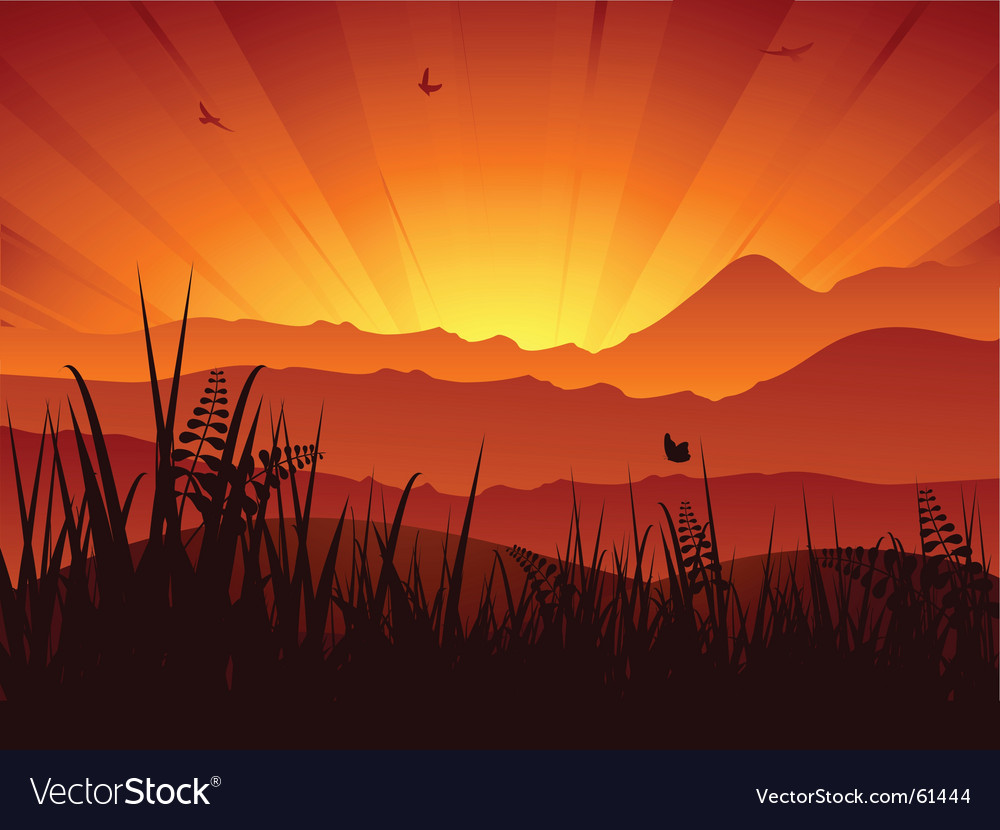 Landscape sunset vector | Price: 1 Credit (USD $1)
