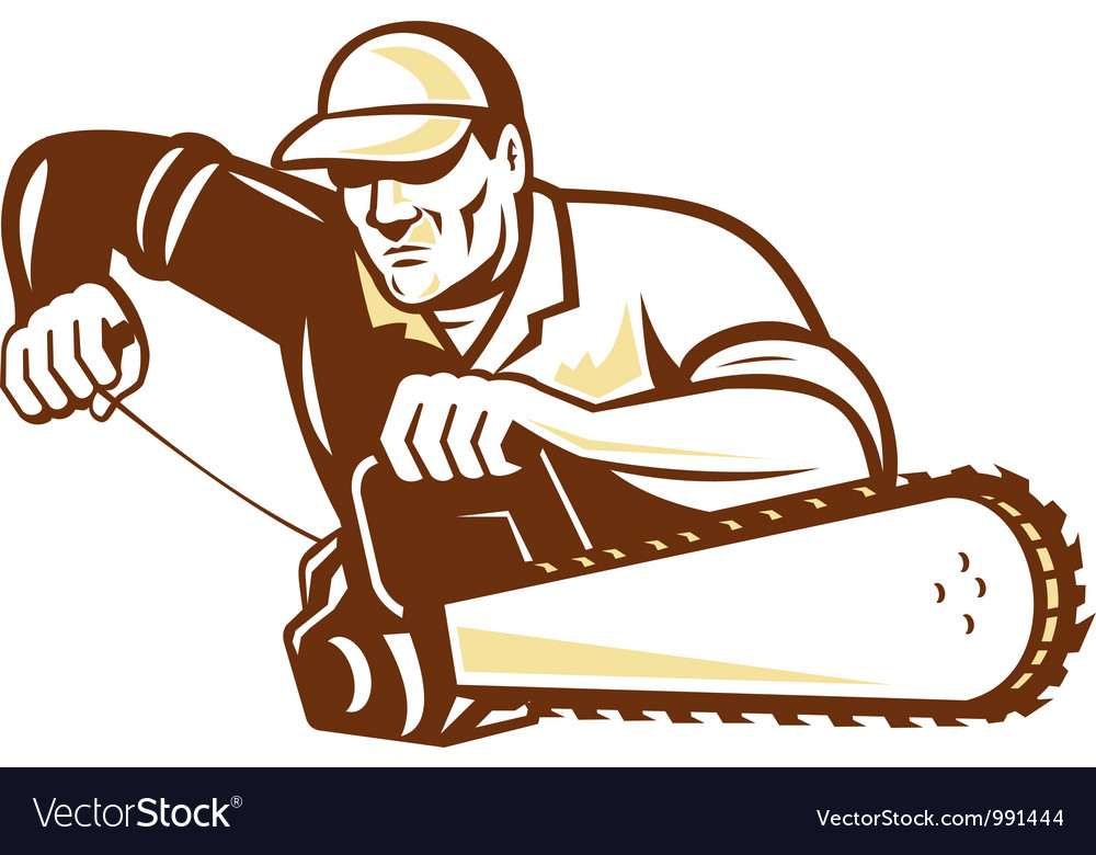 Lumberjack tree surgeon arborist chainsaw vector | Price: 1 Credit (USD $1)