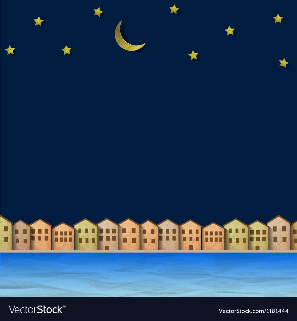 Paper town near river at night vector | Price: 1 Credit (USD $1)
