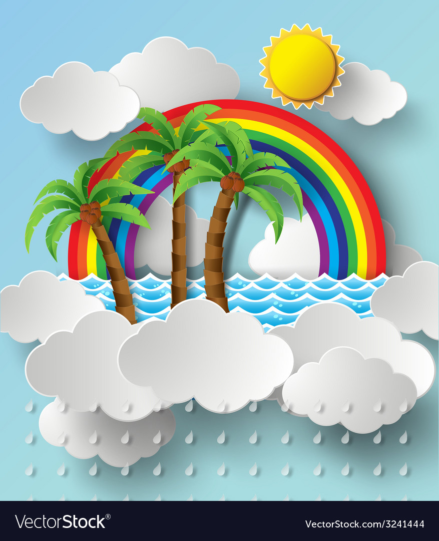 Rainbow and cloud poster vector | Price: 3 Credit (USD $3)
