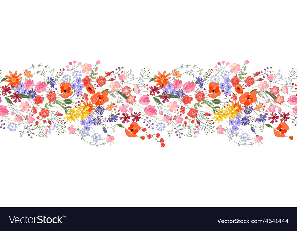 Seamless pattern brush bunch of field flowers vector   Price: 1 Credit (USD $1)