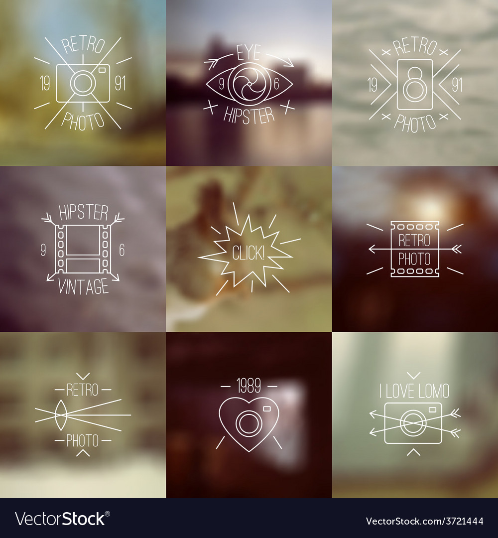 Set of trendy badges and blurred backgrounds vector | Price: 1 Credit (USD $1)