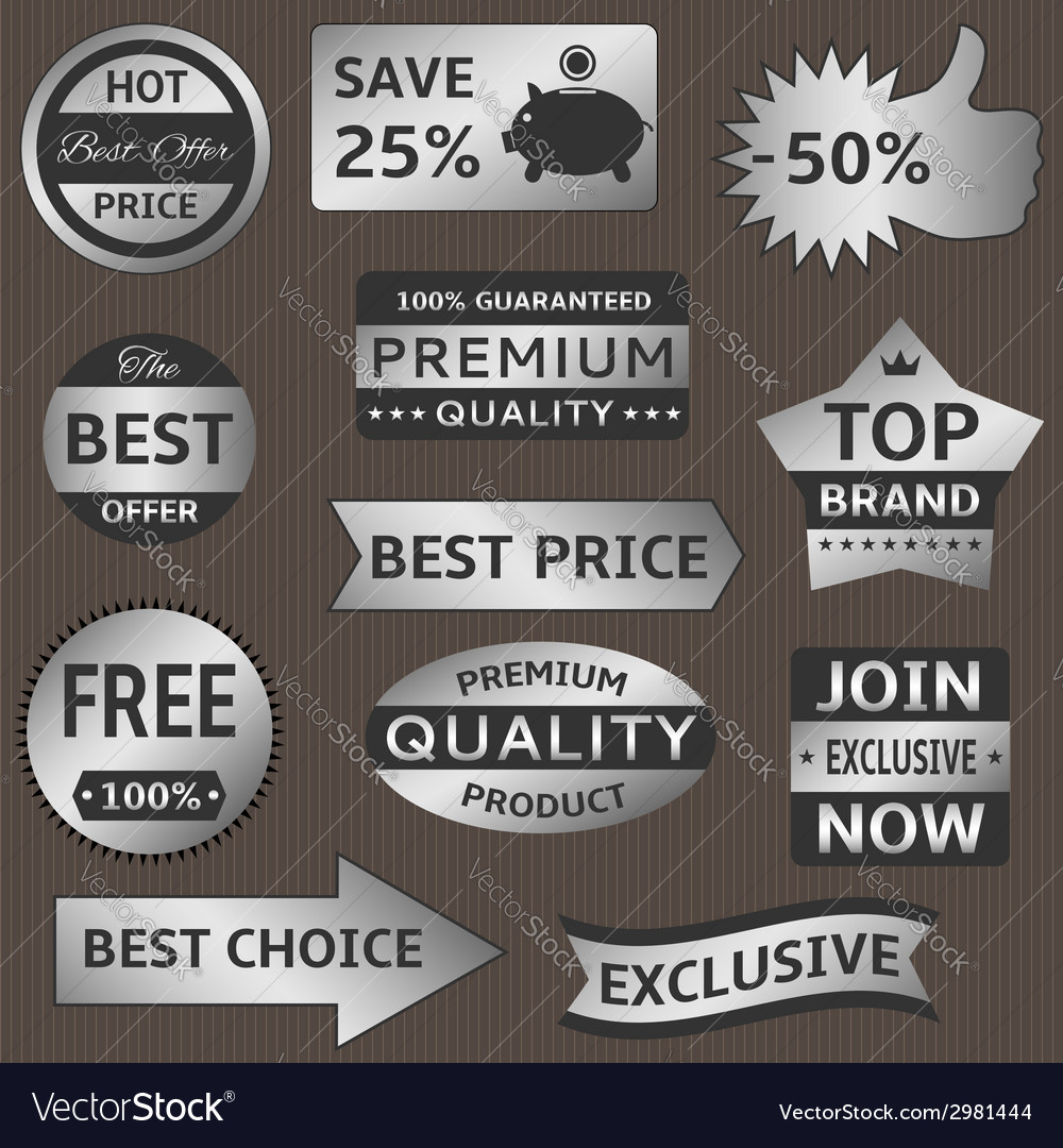 Silver labels vector | Price: 1 Credit (USD $1)