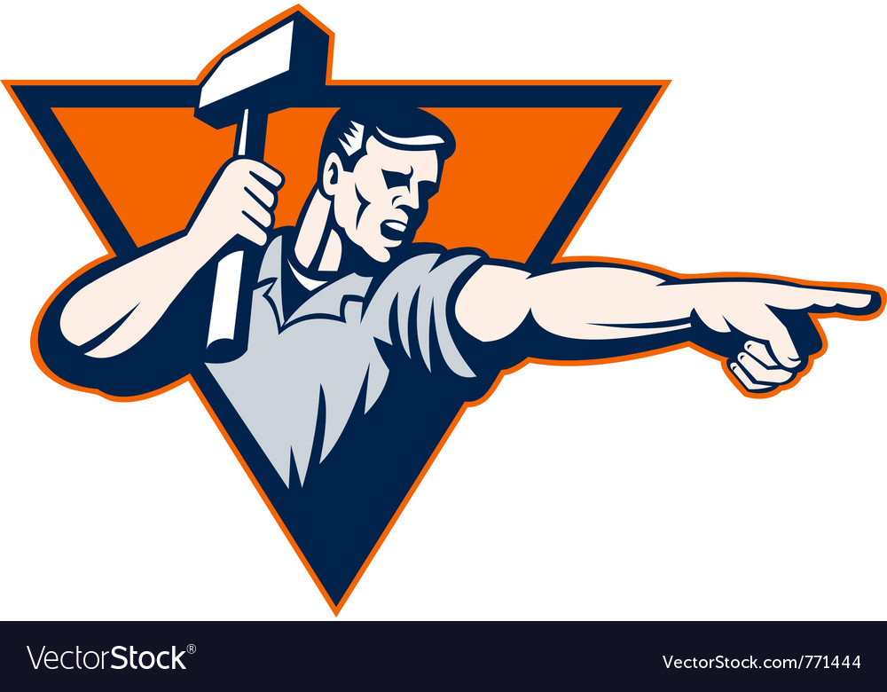 Sledge hammer worker vector | Price: 1 Credit (USD $1)