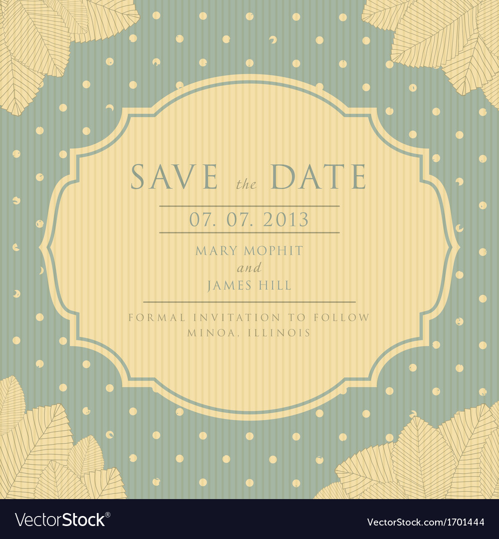 The vintage save the date vector | Price: 1 Credit (USD $1)