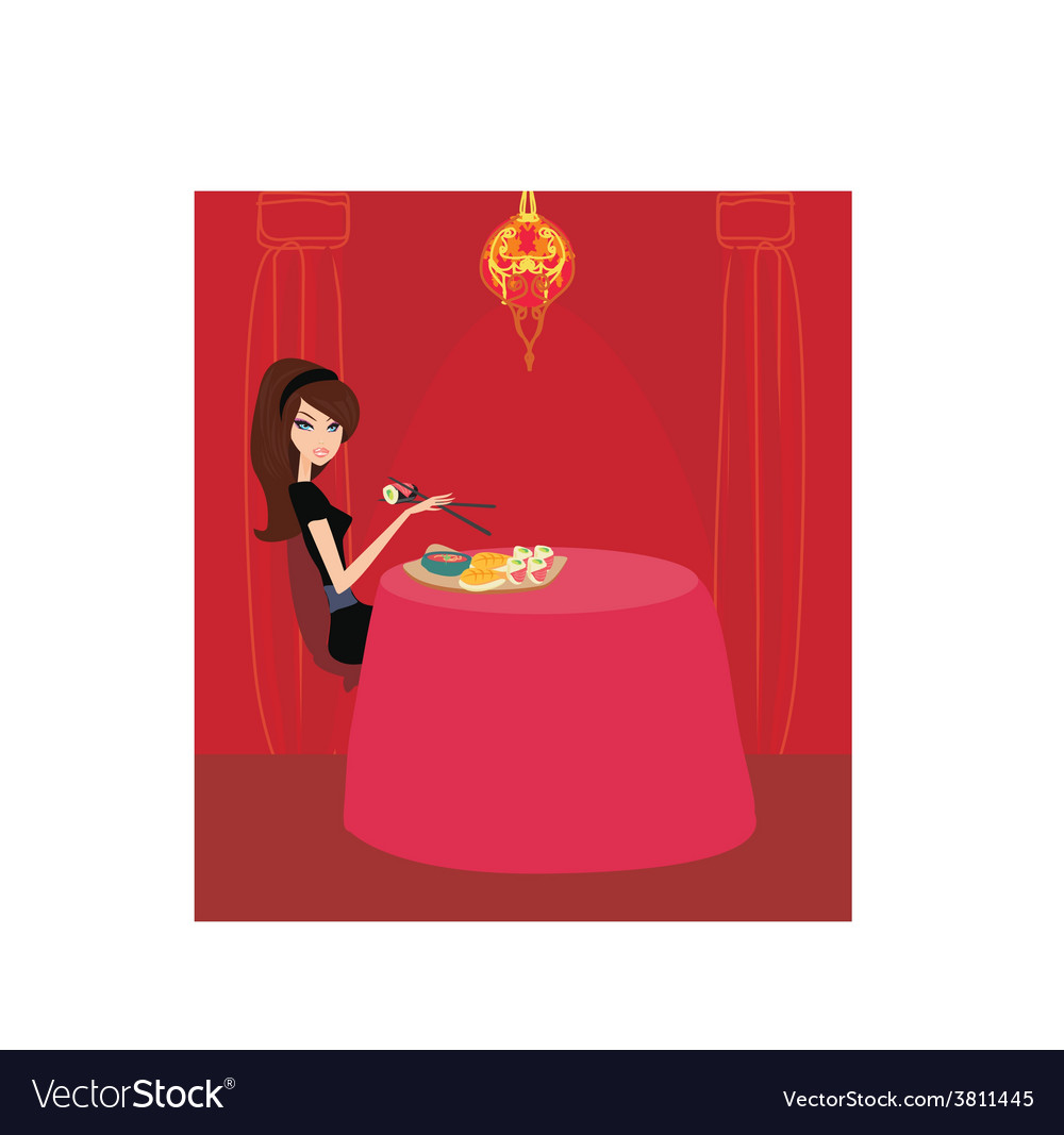 Beautiful asian girl enjoy sushi in restaurant vector | Price: 1 Credit (USD $1)