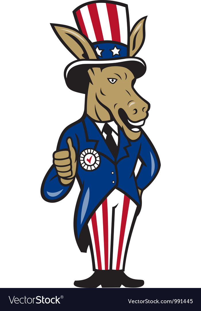Democrat donkey mascot thumbs up flag vector | Price: 1 Credit (USD $1)