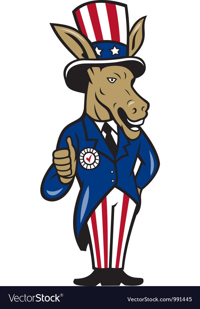 Democrat donkey mascot thumbs up flag vector | Price: 1 Credit (USD $1)