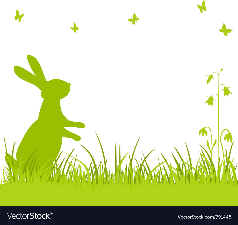 Easter bunny in the meadow vector | Price: 1 Credit (USD $1)