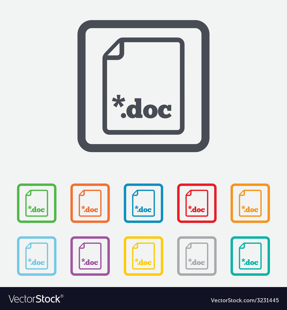 File document icon download doc button vector | Price: 1 Credit (USD $1)