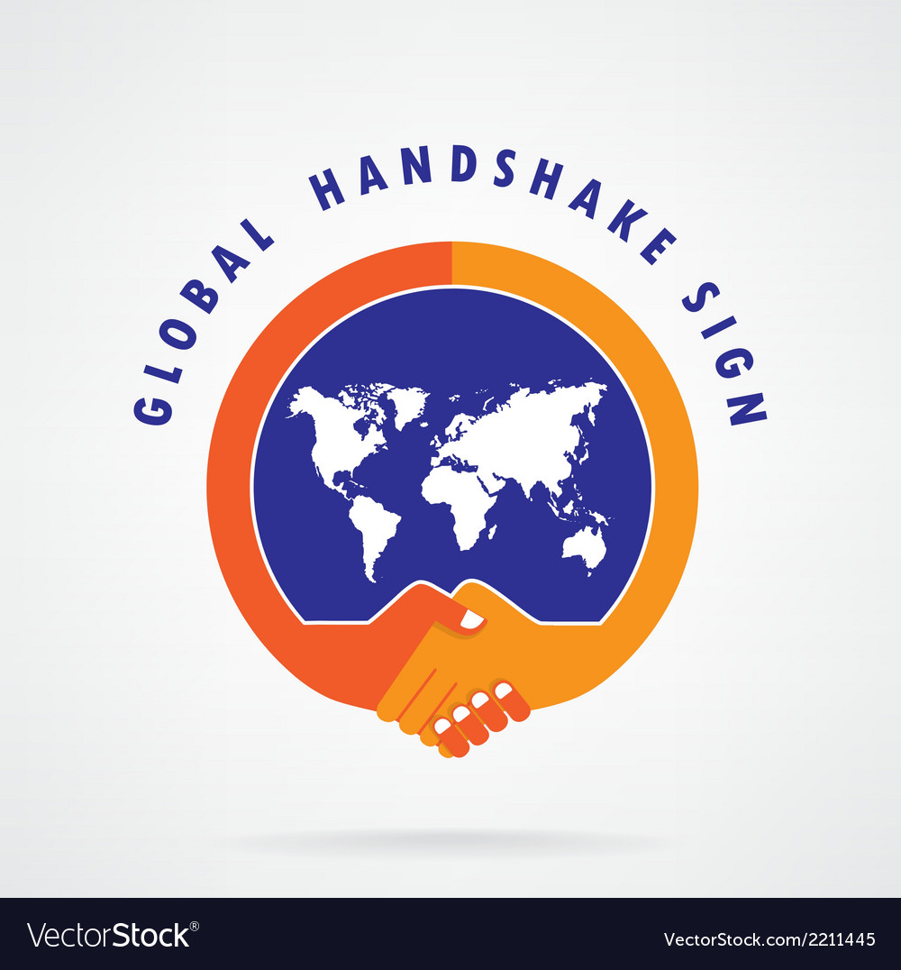 Global handshake abstract sign vector | Price: 1 Credit (USD $1)