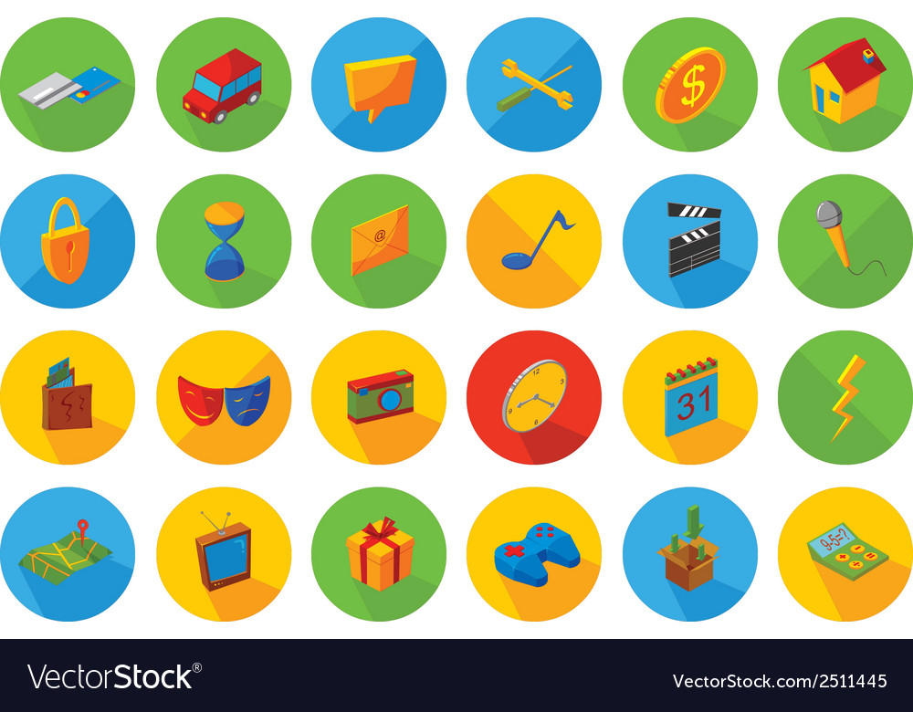 Isometric flat icon set vector | Price: 1 Credit (USD $1)