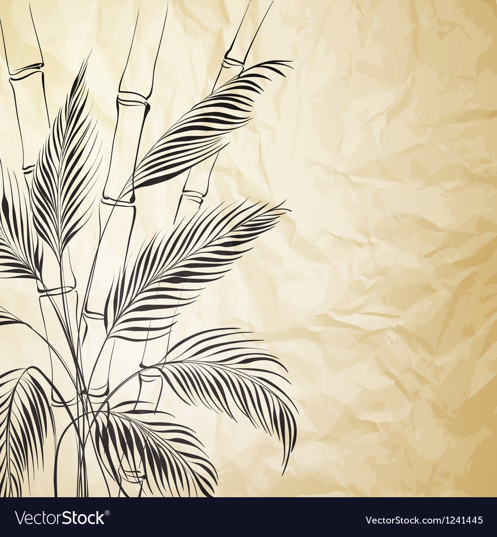 Palm tree over bamboo forest vector | Price: 1 Credit (USD $1)