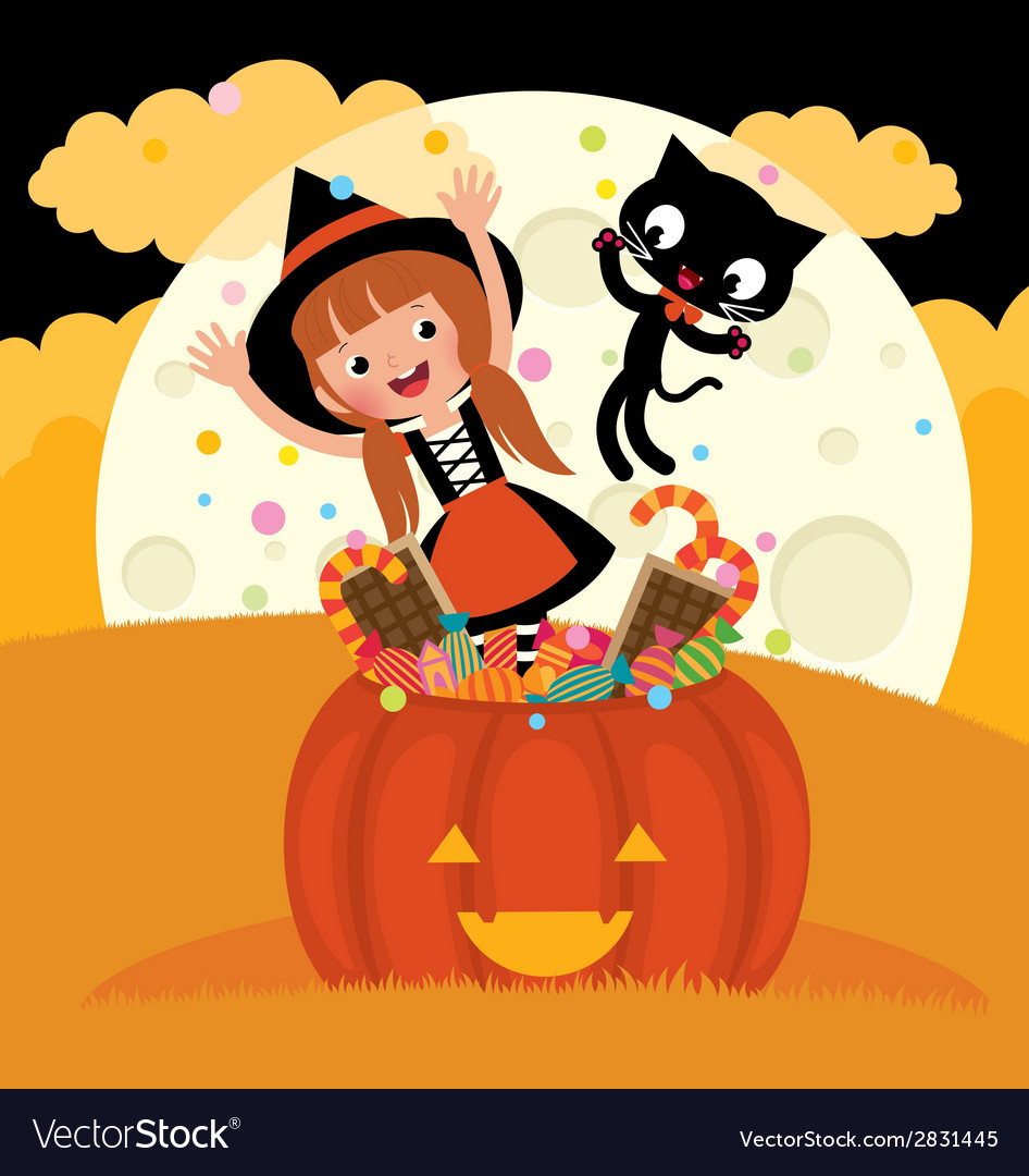 Witch and her cat celebrate halloween vector | Price: 1 Credit (USD $1)