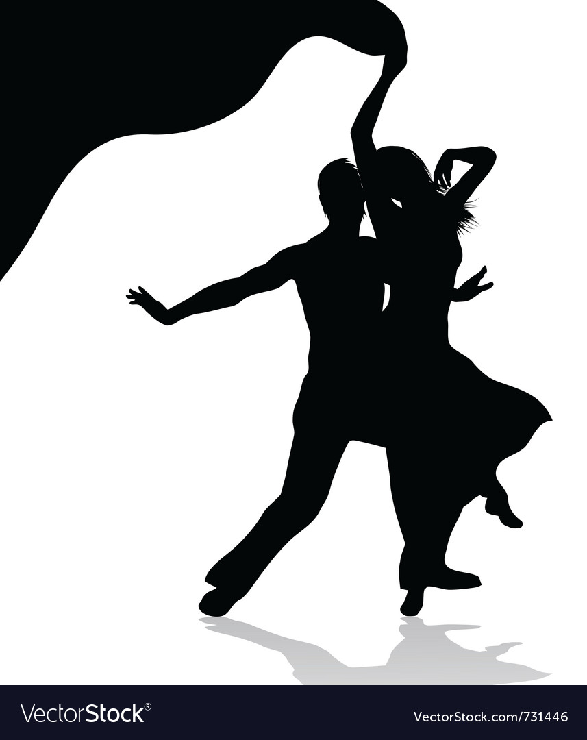 Dancing couple silhouette vector | Price: 1 Credit (USD $1)