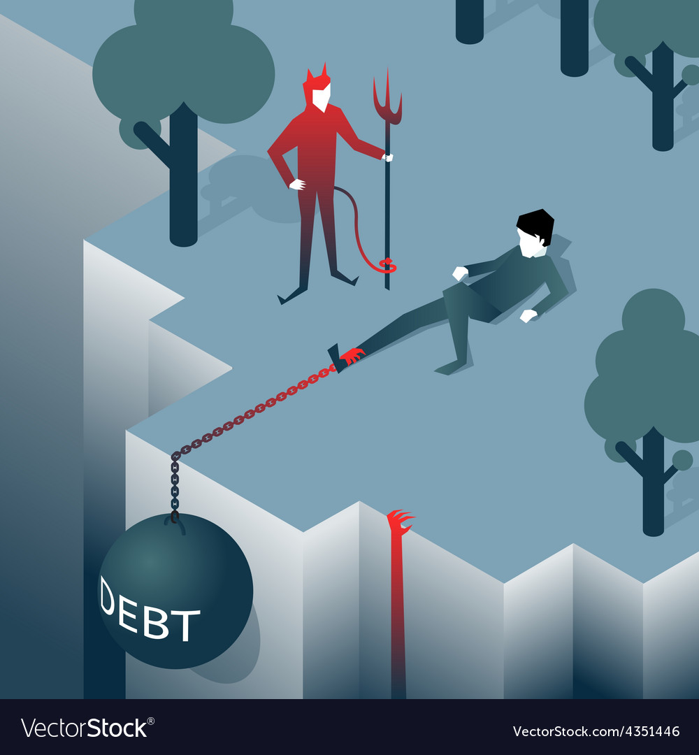 Debt takes off man over a cliff vector | Price: 1 Credit (USD $1)