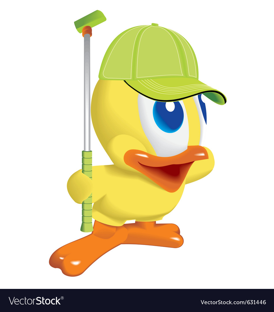 Duck play golf vector | Price: 1 Credit (USD $1)