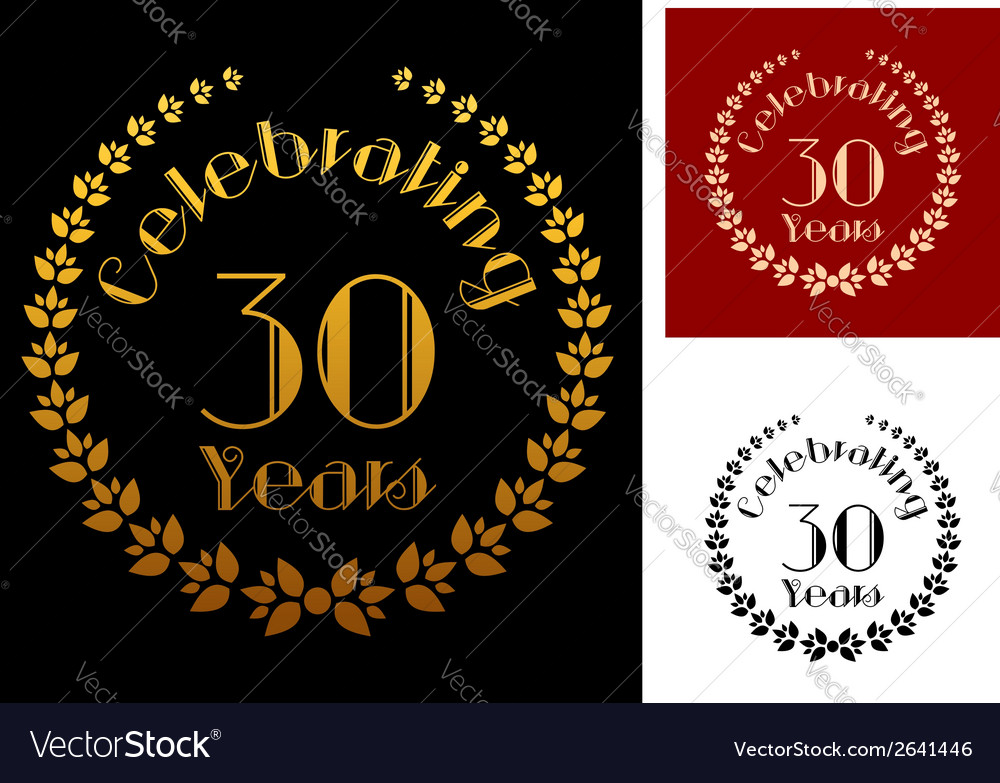 Golden foliate wreathes for anniversary design vector | Price: 1 Credit (USD $1)