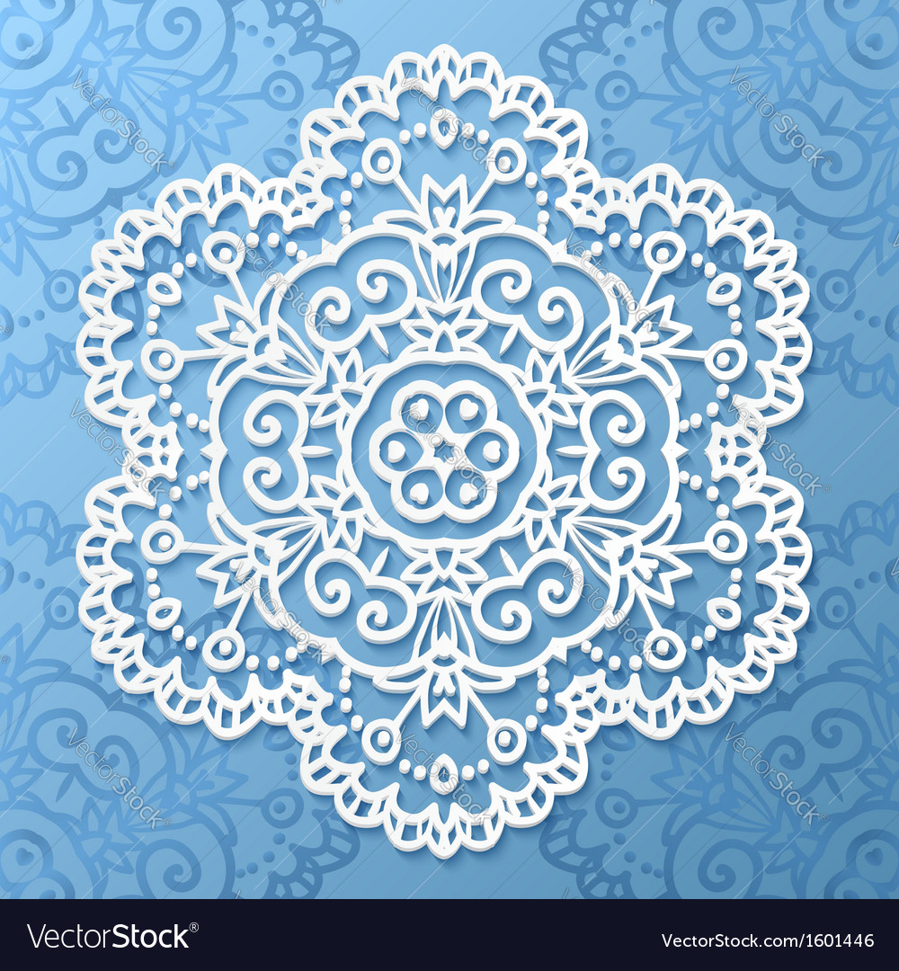 Ornate lacy white paper napkin vector | Price: 1 Credit (USD $1)