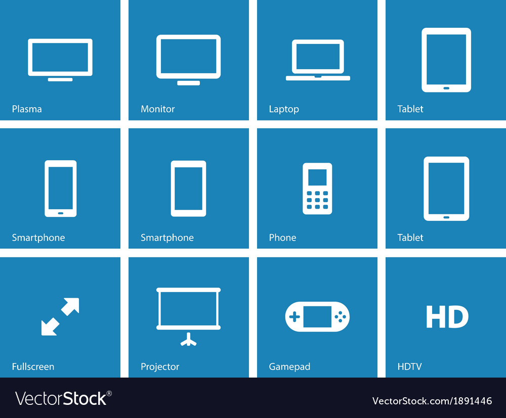 Screens icons on blue background vector | Price: 1 Credit (USD $1)