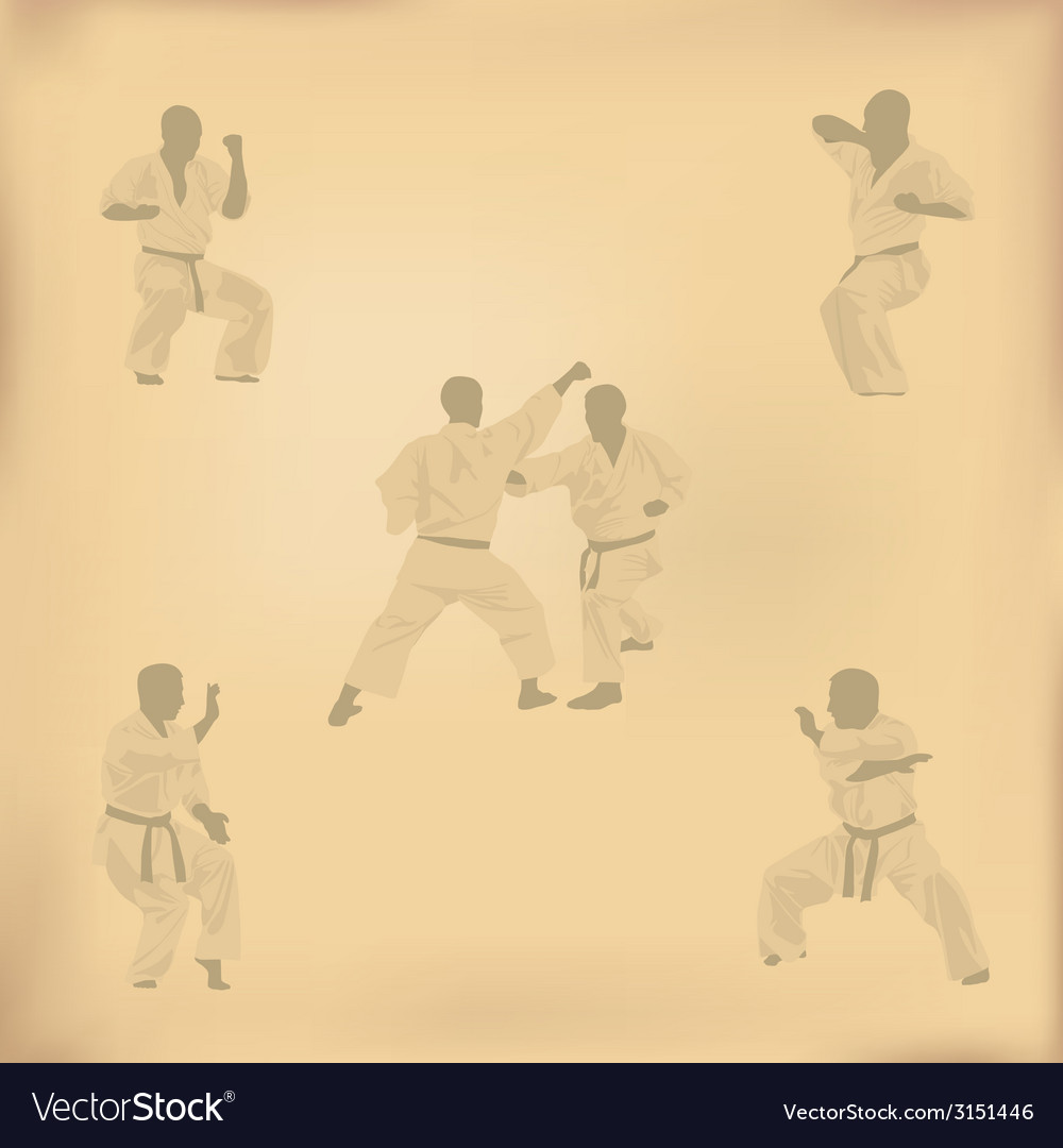 Set of images of karate on old paper vector | Price: 1 Credit (USD $1)
