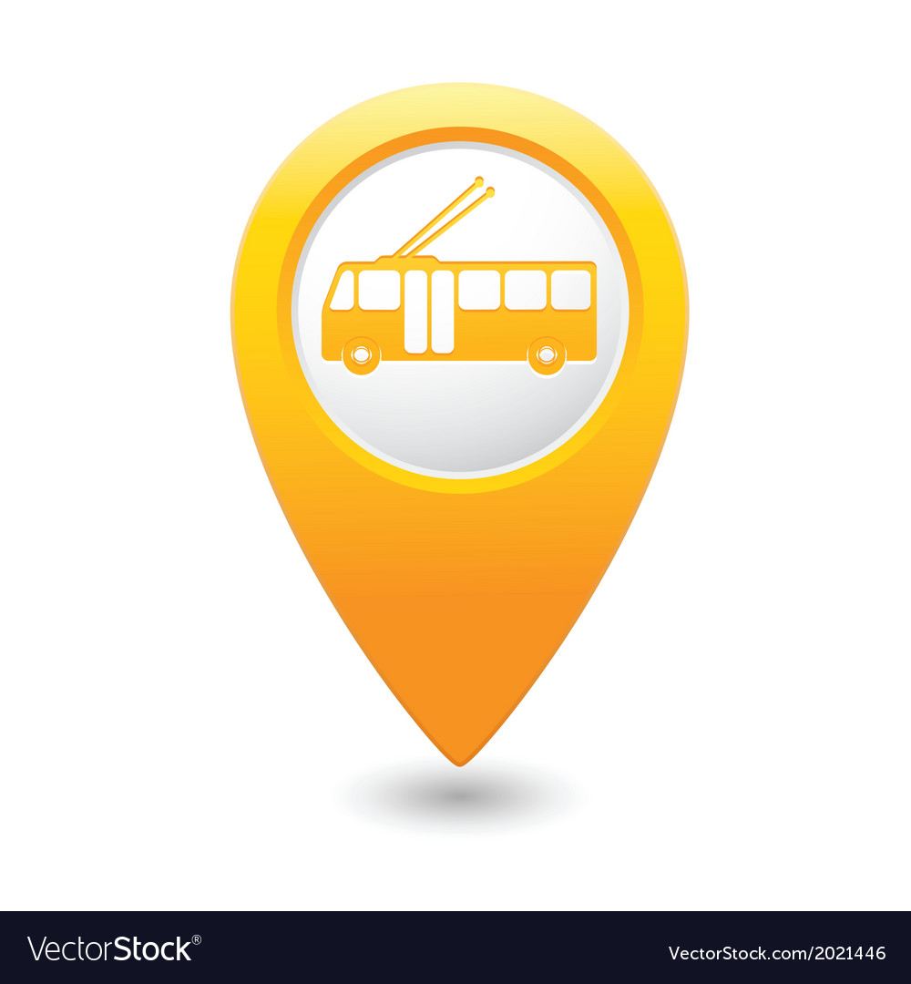 Trolleybus icon yellow map pointer vector | Price: 1 Credit (USD $1)