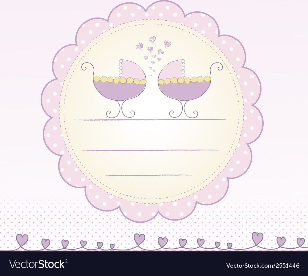 Twins shower announcement vector | Price: 1 Credit (USD $1)