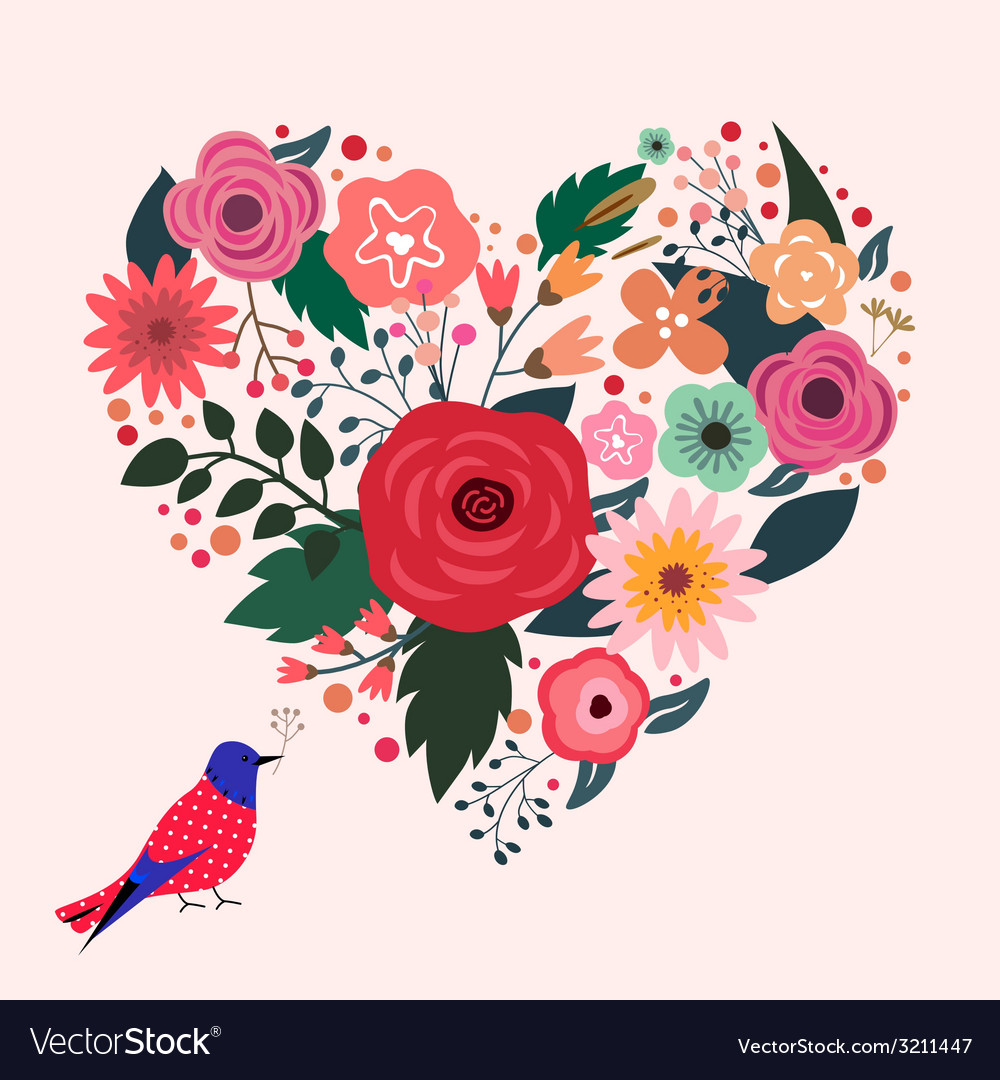 Beautiful floral heart and blue bird vector | Price: 1 Credit (USD $1)