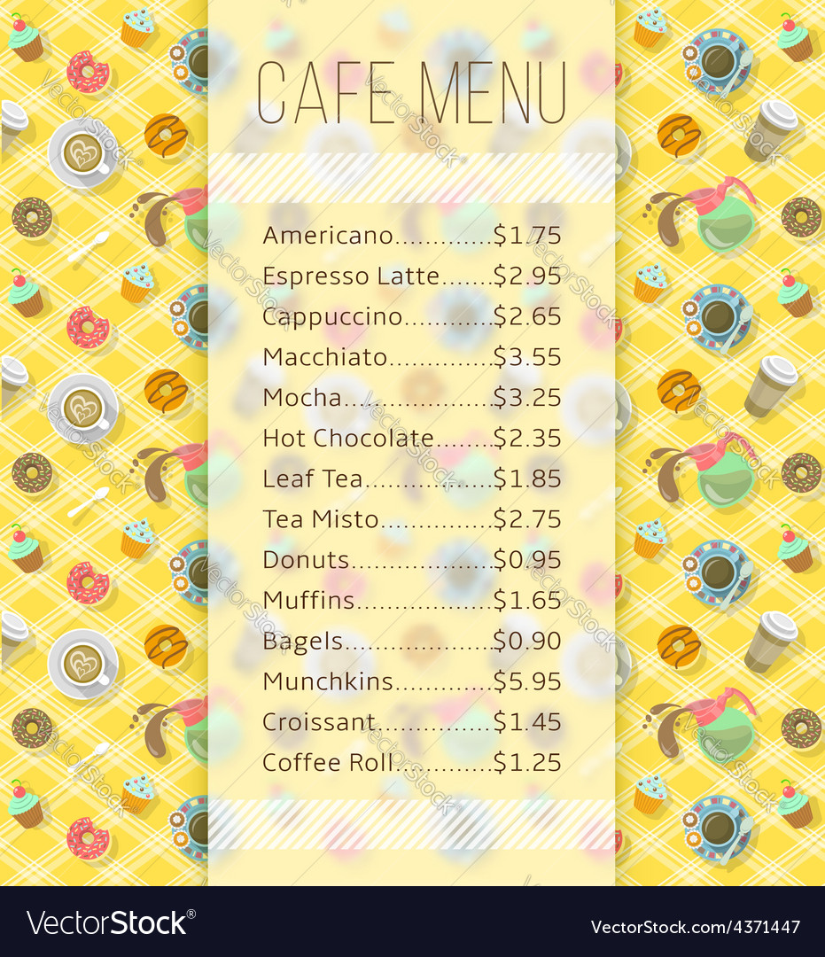 Cafe menu template with food and drink prices vector | Price: 1 Credit (USD $1)
