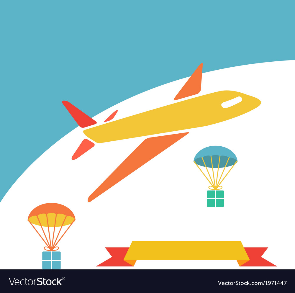 Cargo plane dropping boxes vector | Price: 1 Credit (USD $1)