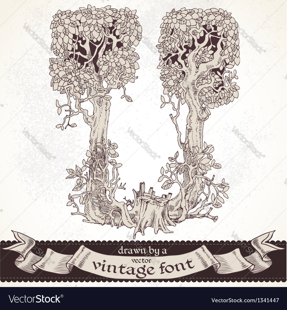 Fable forest hand drawn by a vintage font - u vector | Price: 1 Credit (USD $1)