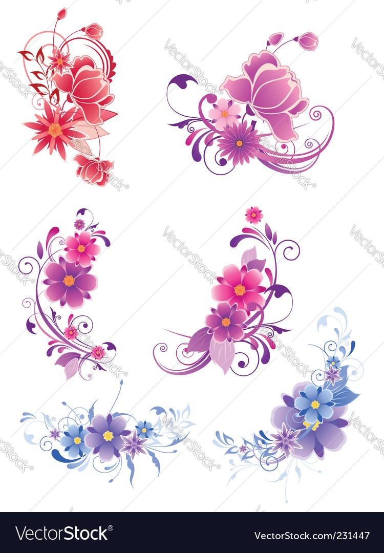 Floral decorative elements vector | Price: 1 Credit (USD $1)