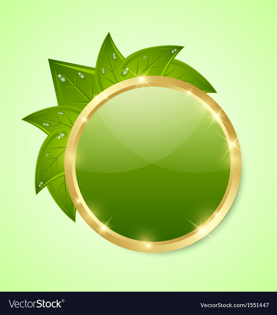 Golden and green plaque vector | Price: 1 Credit (USD $1)