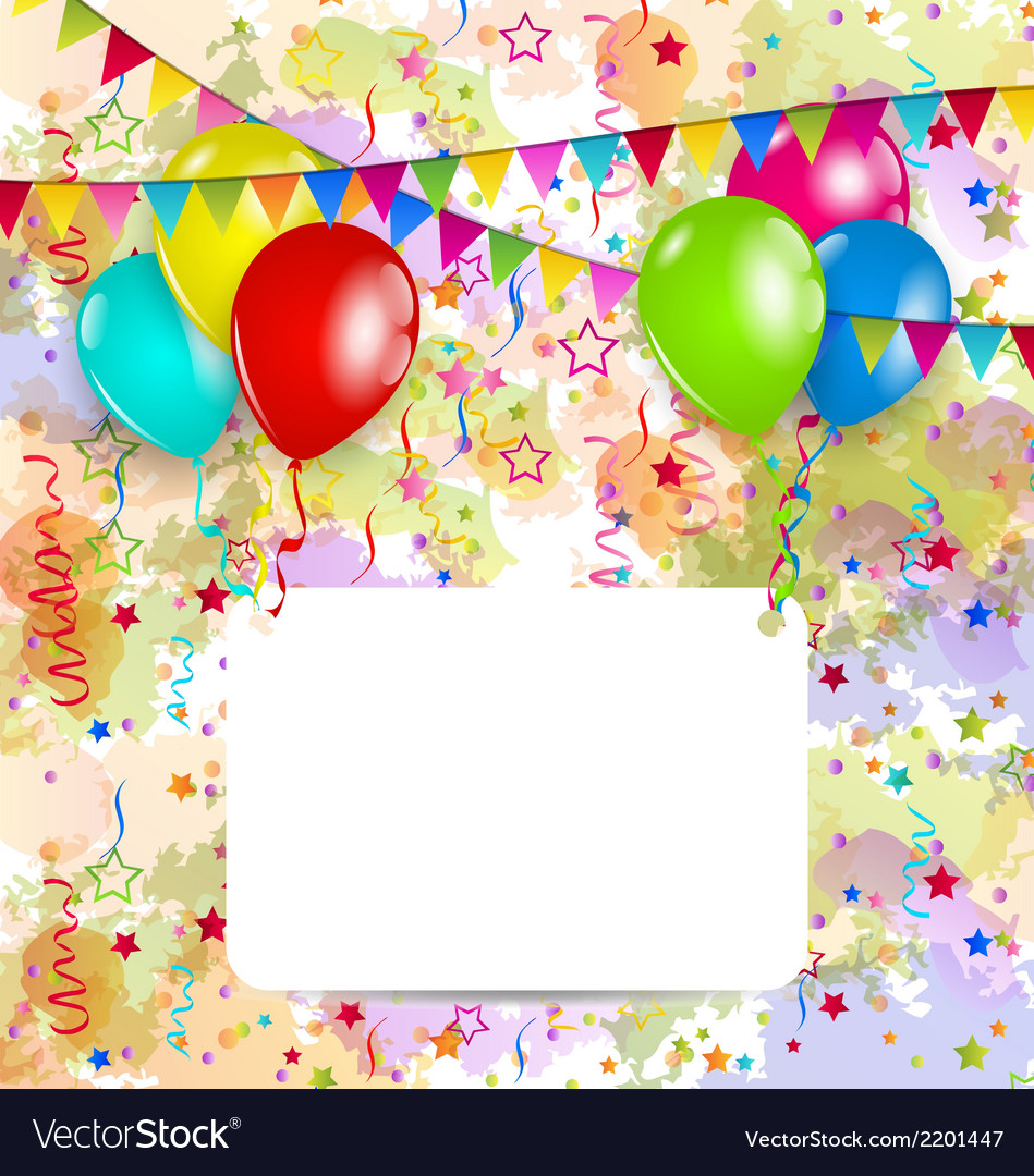 Modern birthday greeting card with balloons and vector | Price: 1 Credit (USD $1)