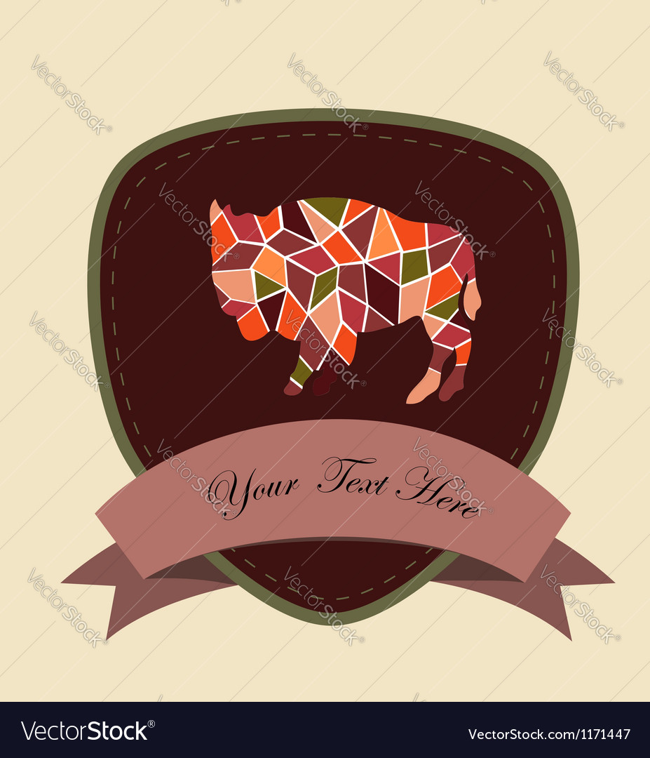 Mosaic buffalo vector | Price: 1 Credit (USD $1)
