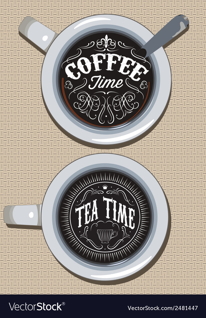 Set of cups for coffee and tea with ornament vector | Price: 1 Credit (USD $1)