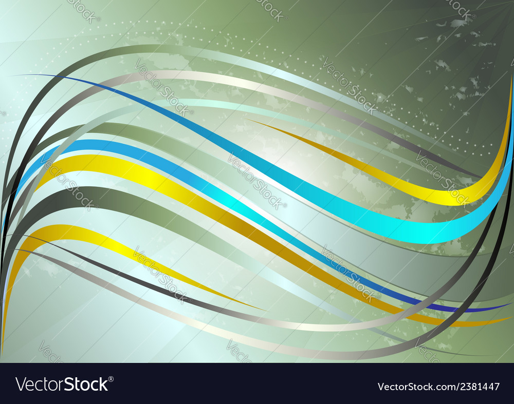 Shiny yellow and blue wavy stripes vector | Price: 1 Credit (USD $1)