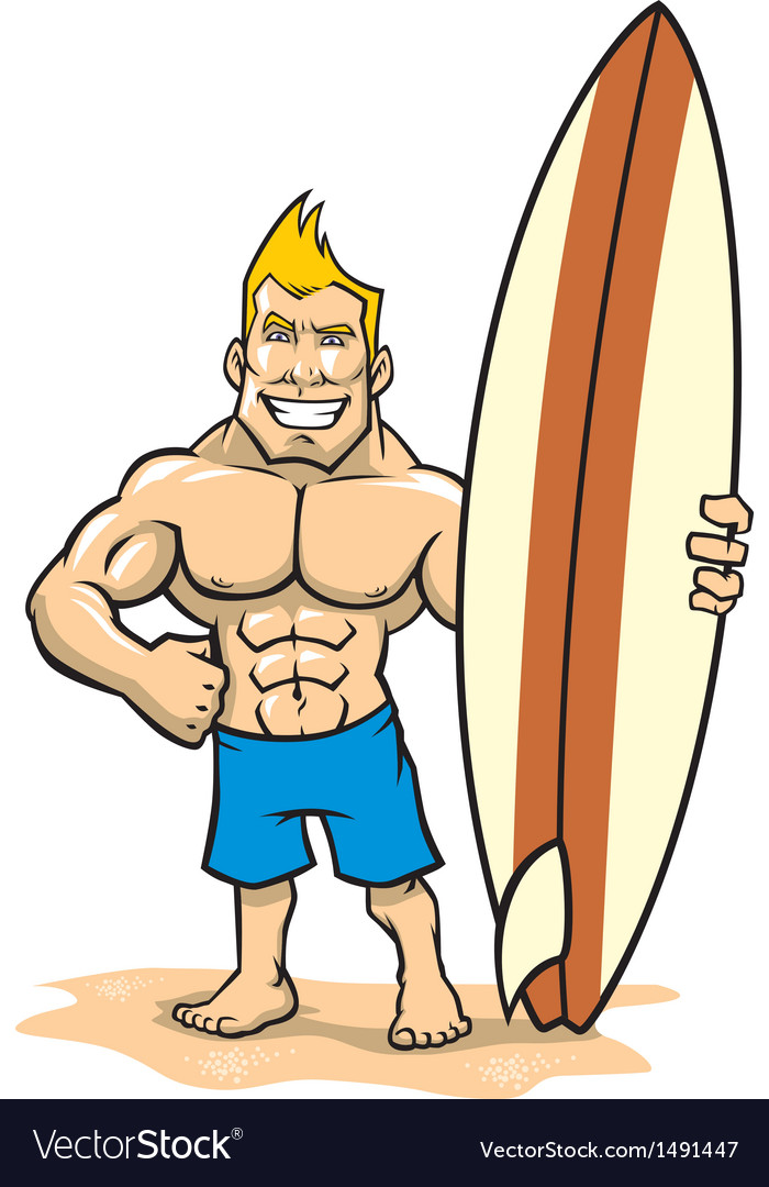 Smiling muscle surfer posing with surfboard vector | Price: 1 Credit (USD $1)