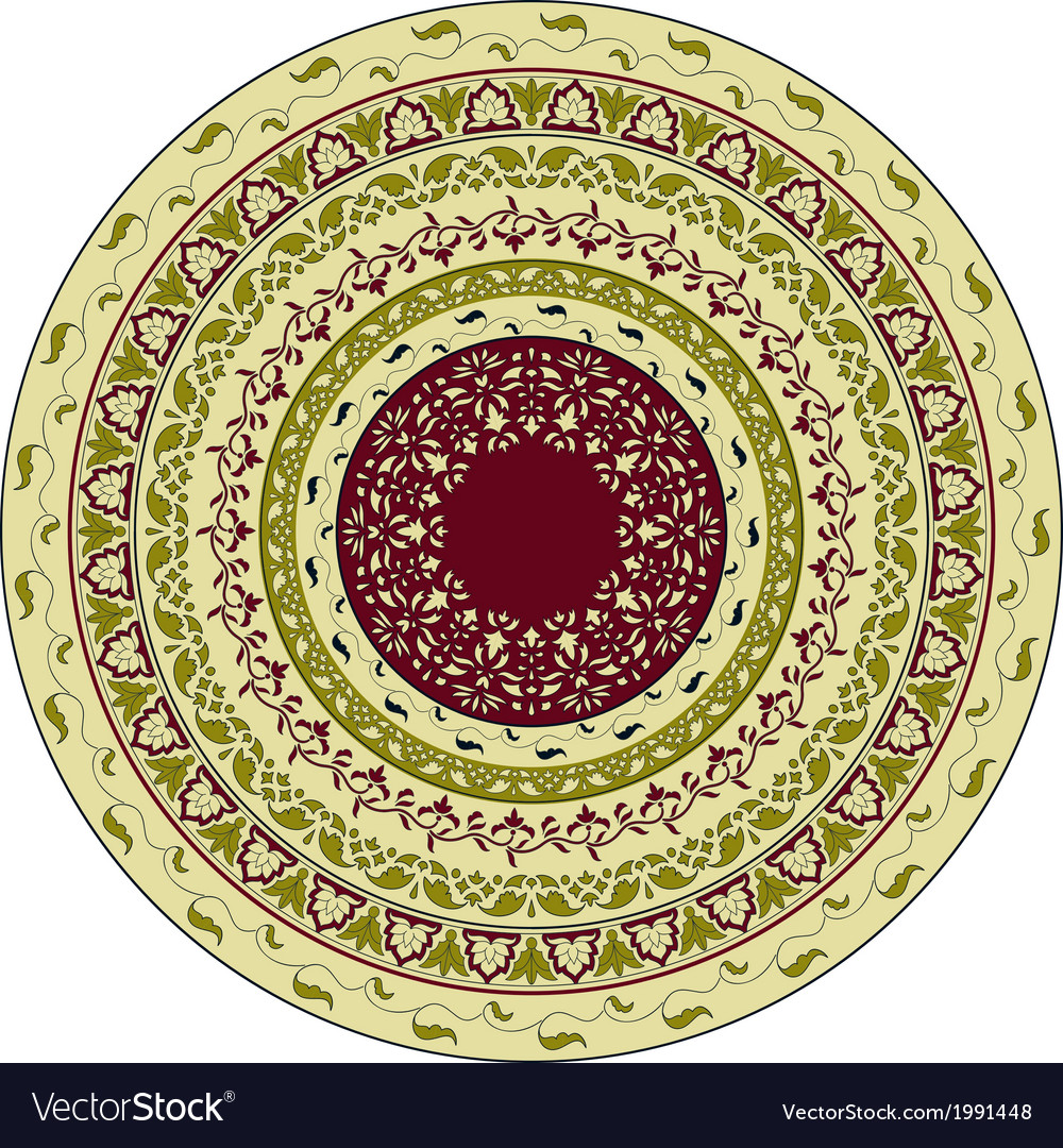 Circles floral pattern indian style vector | Price: 1 Credit (USD $1)