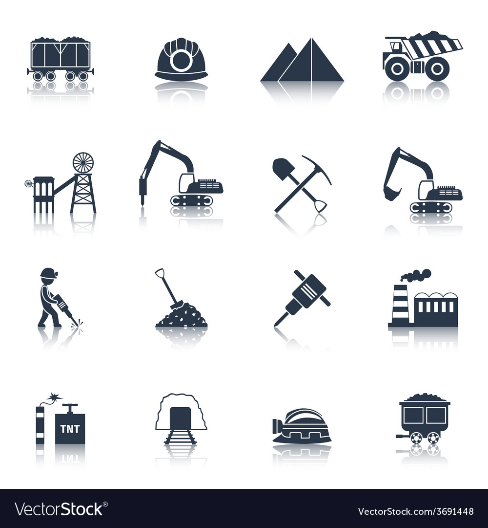 Coal industry icons black vector | Price: 1 Credit (USD $1)