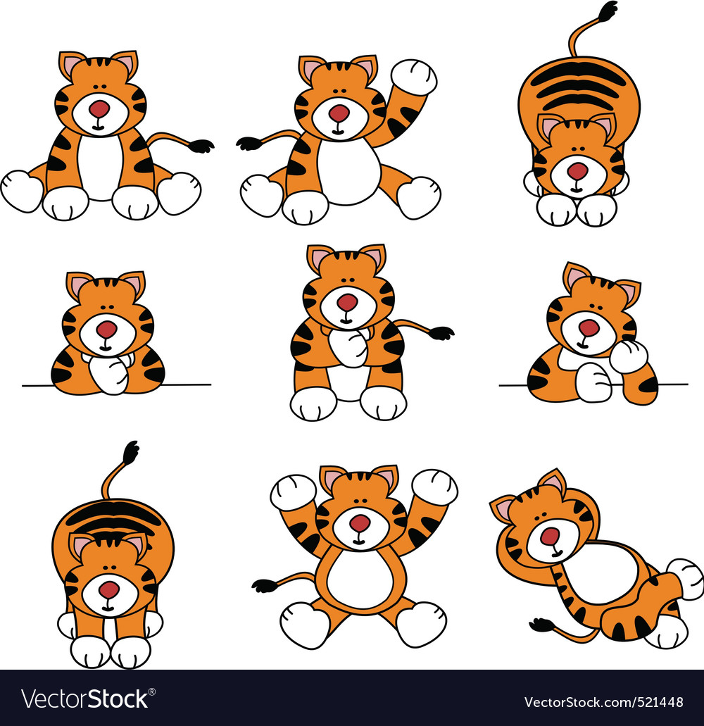 Cute tiger cartoon set vector